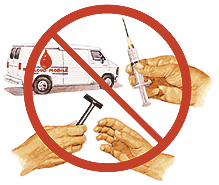 Collage of bloodmobile, hand holding syringe, and hand accepting razor from another hand. Circle and slash is on top of collage.