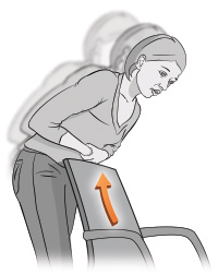 Illustration showing the choking woman bending over the back of a chair to perform choking self-rescue.