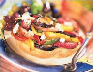 Greek roasted-vegetable sandwich