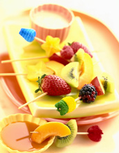Fruit kabobs and dip